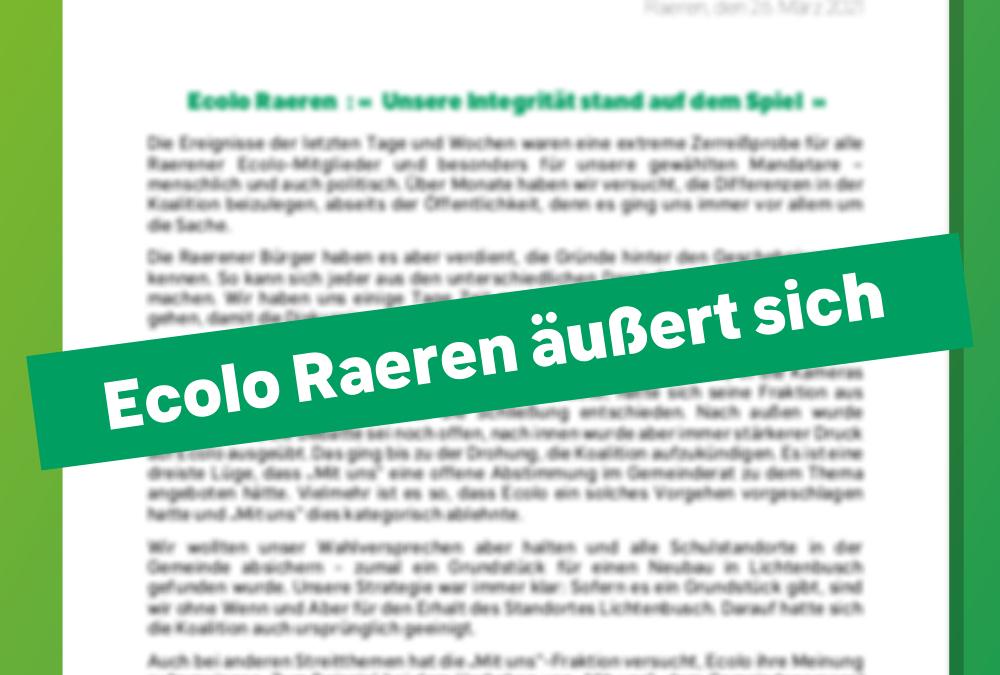 """Ecolo Raeren: """"Unsere Integrität stand auf dem Spiel"""""""